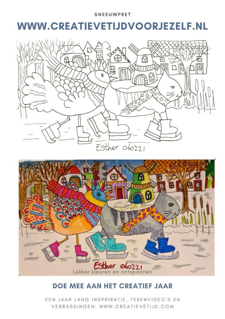 kleurplaat sneeuwpret