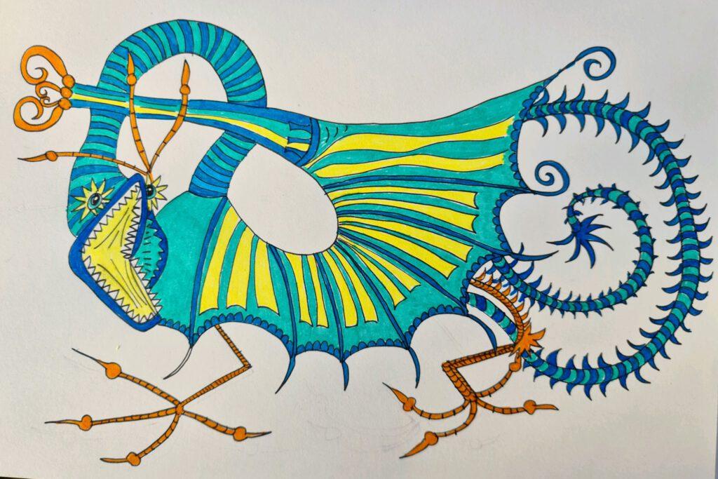 de tekening van de draak van gaudi  met kleur
